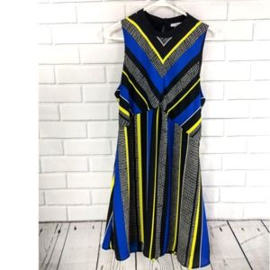 Geometric Striped Yellow Blue Black Dress S XL